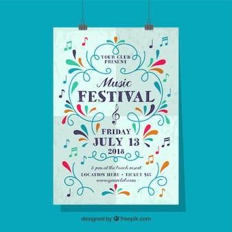Póster de festival de música con adornos coloridos