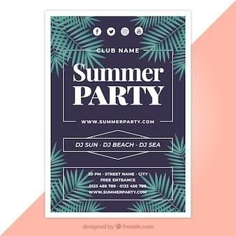 Póster de fiesta de verano con diseño plano