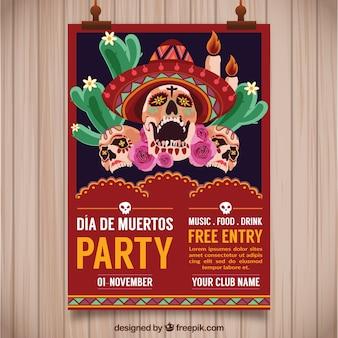 Póster de fiesta mexicana con calaveras terroríficas