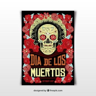 Póster de fiesta mexicana con estilo terrorífico
