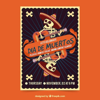 Póster de fiesta mexicana con mariachis muertos