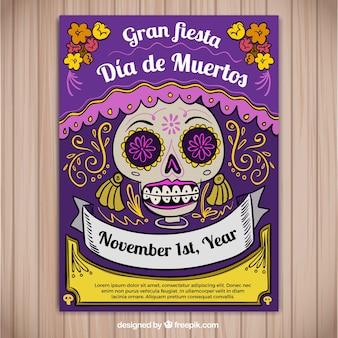 Póster de fiesta mexicana dibujado a mano