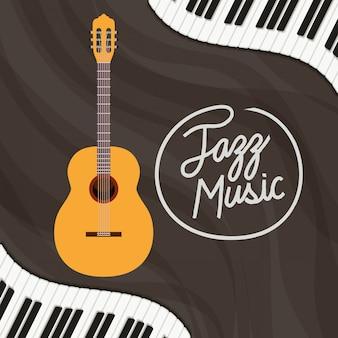Póster del día de jazz con teclado de piano y guitarra acústica.