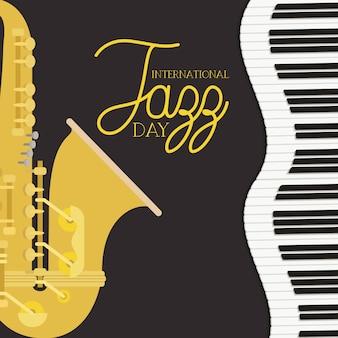 Póster del día de jazz con teclado de piano y saxofón.