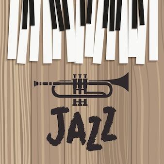 Póster del día de jazz con teclado de piano y trompeta.
