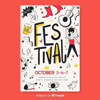 Poster dibujado de festival de música