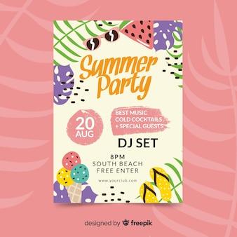 Poster dibujado de fiesta de verano