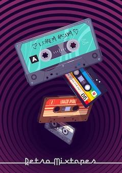 Póster de dibujos animados de mixtapes retro con cintas de mezcla de audio que caen en un agujero profundo con casetes de patrones hipnóticos