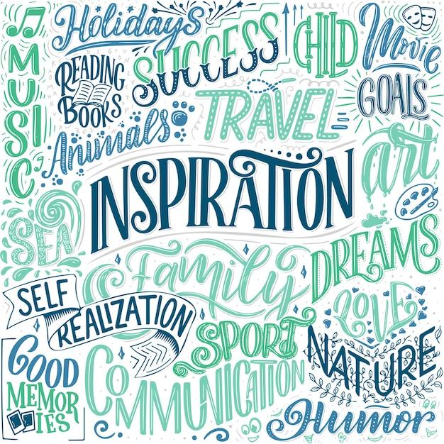 Póster con diferentes tipos de inspiraciones. palabras inspiradoras.