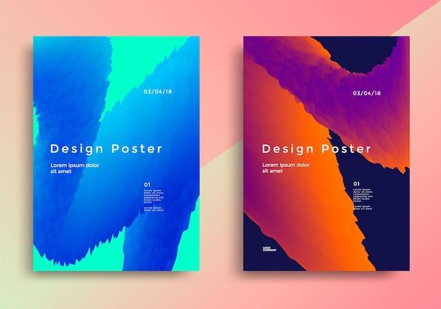 Póster de diseño creativo con ondas de degradado vibrantes.