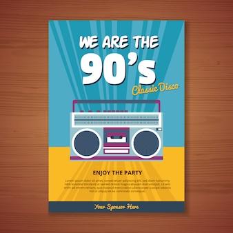 Póster con diseño de fiesta de los 90