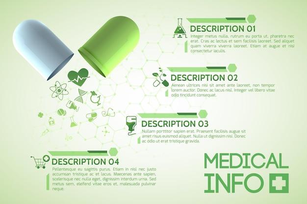 Póster de diseño médico con cápsula medicinal original que consta de partes verdes y blancas.