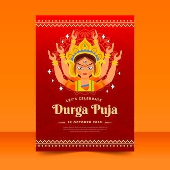 Póster de durga-puja con diosa hindú