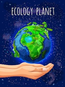 Póster eco planet de dibujos animados