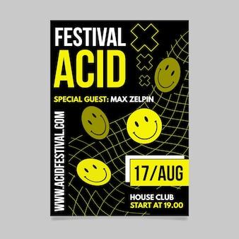 Póster emoji ácido plano