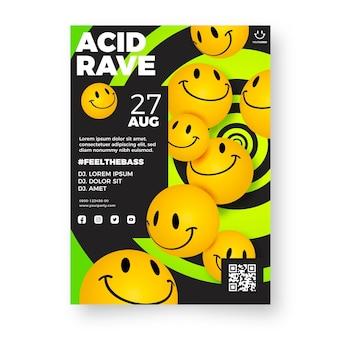 Póster emoji ácido realista vector gratuito