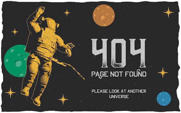Póster de error 404 con página no encontrada para usar en el sitio web