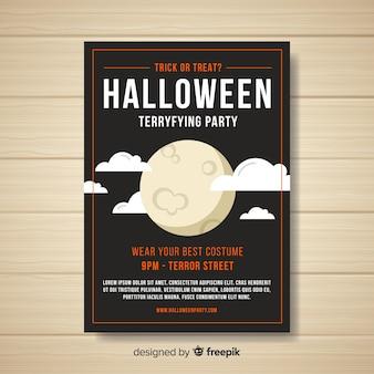 Póster espeluznante de fiesta de halloween con diseño plano