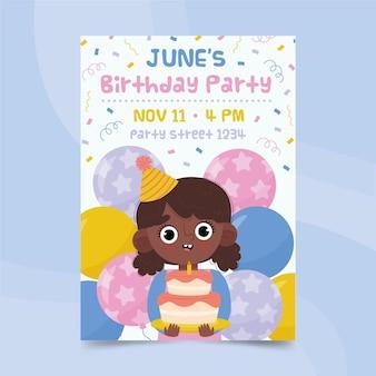 Póster feliz cumpleaños niña sosteniendo pastel