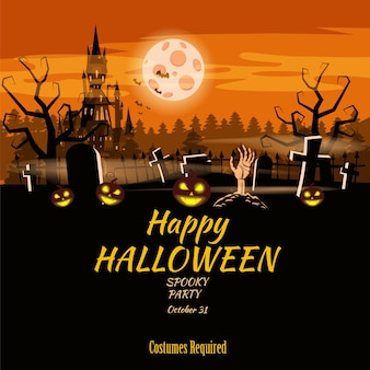 Póster feliz fiesta de halloween calabaza, cementerio, castillo negro abandonado, atributos de la fiesta de todos los santos