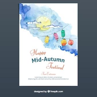 Póster del festival de medio otoño en acuarela