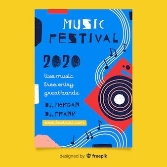 Póster de festival de música abstracto dibujado a mano