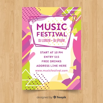 Póster festival música colorida