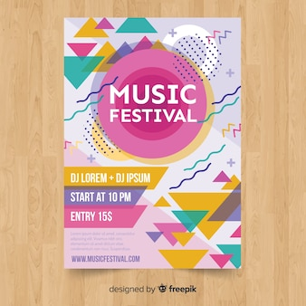 Póster festival música colorido