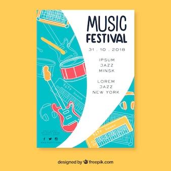 Póster festival música dibujado a mano