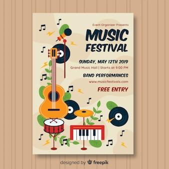 Poster de festival de música dibujado a mano