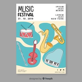 Póster de festival de música dibujado a mano