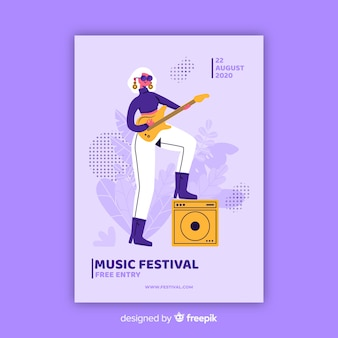 Póster festival de música dibujado a mano