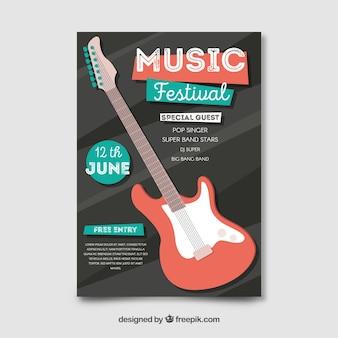 Póster festival música guitarra eléctrica plana