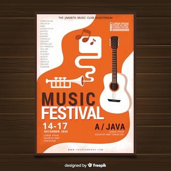 Póster festival música guitarra plana