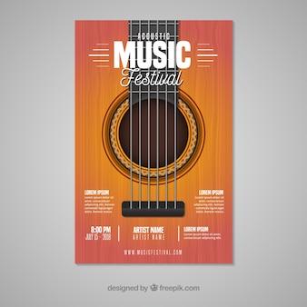 Póster de festival de música con guitarra