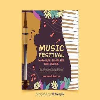 Póster festival música hojas dibujadas a mano