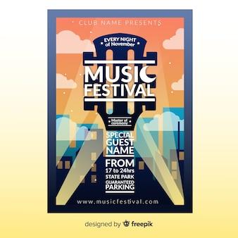 Poster de festival de música con ilustración degradada