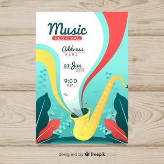 Póster de festival de música con ilustración en degradado