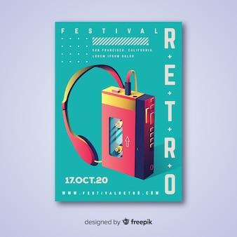 Poster de festival de música con ilustración en degradado
