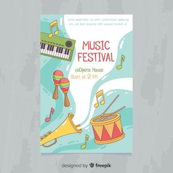 Póster festival música instrumentos dibujados a mano