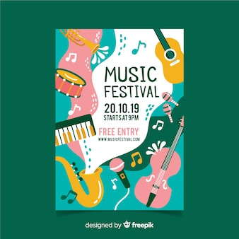 Póster festival música instrumentos y olas