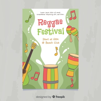 Póster festival música instrumentos reggae dibujados a mano