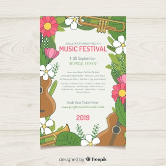Póster festival música marco floral dibujado a mano