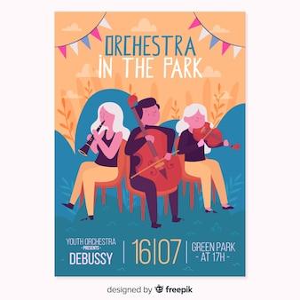 Póster festival música orquesta dibujada a mano