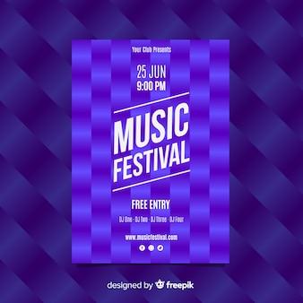 Póster festival música patrón cuadrados
