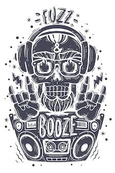 Póster fiesta de calavera boombox