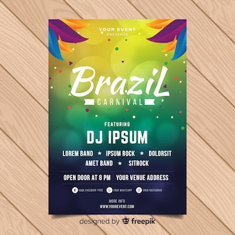 Póster fiesta carnaval  brasileño círculos borrosos
