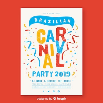 Póster fiesta carnaval  brasileño confeti