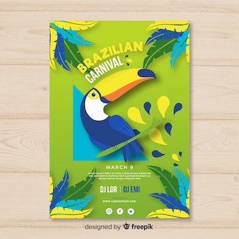 Póster fiesta carnaval brasileño tucán dibujado a mano
