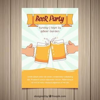 Póster de fiesta de la cerveza con estilo de dibujo a mano
